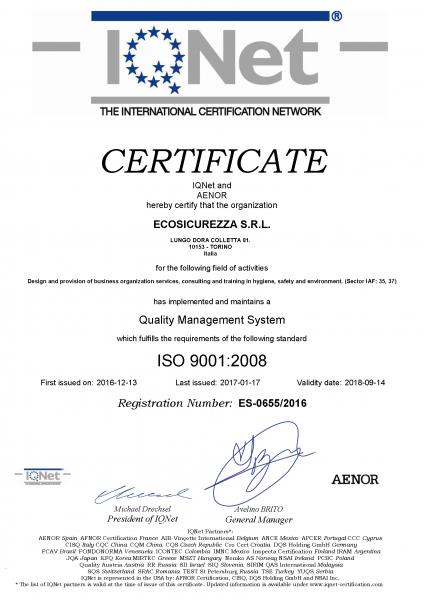 Certificato Qualità 2017-2018